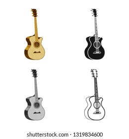 Vector illustration of music and tune icon. Set of music and guitar stock symbol for web.