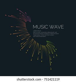 Vector illustration of music wave in the form of the equalizer on black background