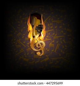 Vector illustration of musical background fire break with acoustic guitar and musical notes in the background.