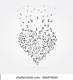 vector illustration of musical heart with notes