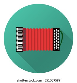 Vector illustration of musical instrument. Flat accordion with shadow.