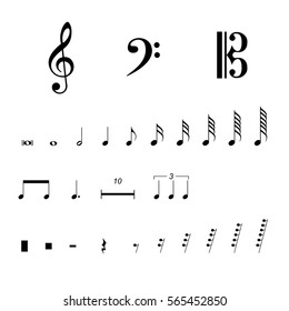Vector illustration musical notes and pauses.  Black music symbols isolated on white. Music notation sign set. Musical key collection. Notation clef