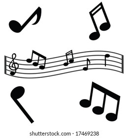 Vector illustration of musical notes and a waving scale. For jpeg version, please see my portfolio.