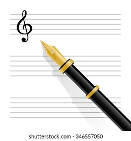 Vector illustration of musical staff with treble clef and fountain pen