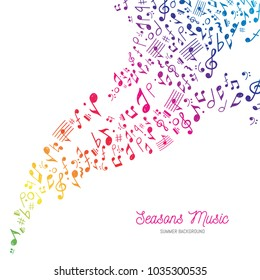Vector Illustration of a musical themed background with the typical colors of rainbow and summer