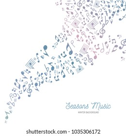 Vector Illustration of a musical themed background with the typical colors of Winter