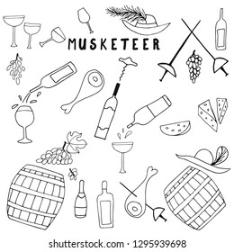 Vector illustration of Musketeer meal, hand drawn sketch of food in France. Wine, meat and cheese. Musketeer swords and hats. Lunch from the novel Three musketeers