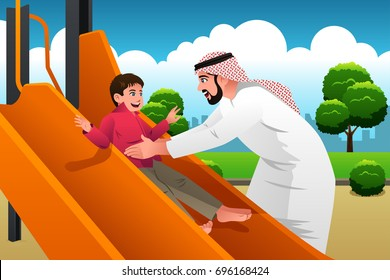 A vector illustration of Muslim Arabian Man with His Child in the Playground