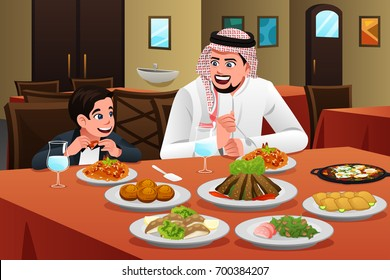 A vector illustration of Muslim Arabian Man Eating With His Son