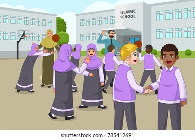 A vector illustration of Muslim Children Playing in School Playground During Recess