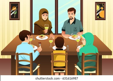 A vector illustration of Muslim Family Eating Dinner at Home