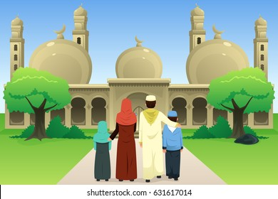 A vector illustration of Muslim Family Going to Mosque