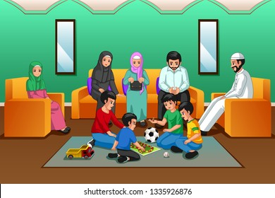 A vector illustration of Muslim Family Playing in the Living Room