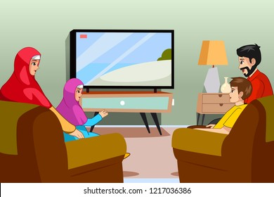 A vector illustration of Muslim Family Watching TV at Home