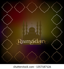 Vector illustration of Muslim fasting (abstinence) Ramadan. Mosque and stars on a dark background. East ornament.
