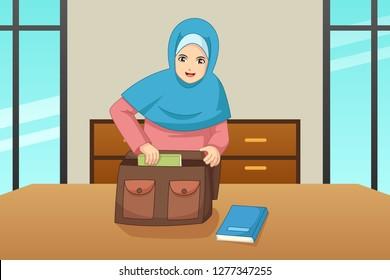 A vector illustration of Muslim Girl Putting Book Inside a Bag