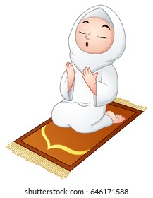 Vector illustration of Muslim girl sitting on a prayer rug while praying