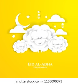 vector illustration. Muslim holiday Eid al-Adha. the sacrifice a ram or white and black sheep.