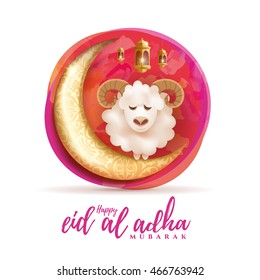 vector illustration. Muslim holiday Eid al-Adha. the sacrifice a ram or sheep. graphic design for the decoration of flyers, posters, cards. abstaktnaya month lamb and a lamp. Feast of the Sacrifice