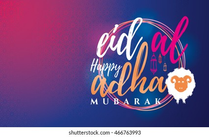 vector illustration. Muslim holiday Eid al-Adha. the sacrifice a ram or sheep. graphic design decoration of flyers, posters, cards. abstaktnaya month lamb and a lamp. lettering Feast of the Sacrifice