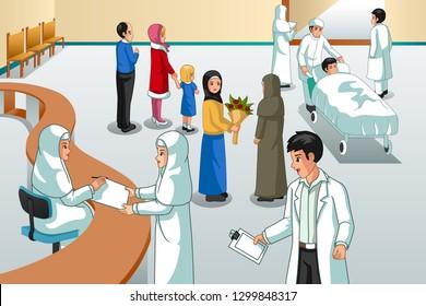 A vector illustration of Muslim Hospital Scene