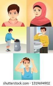 A vector illustration of Muslim Kids Doing Activities