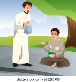 A vector illustration of Muslim Man Giving Donation to a Poor Man