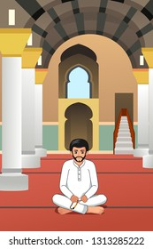 A vector illustration of Muslim Man Praying in a Mosque