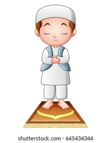 Vector illustration of Muslim man praying isolated on white background