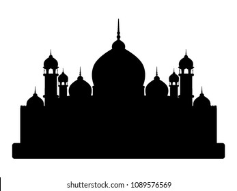 Vector illustration of a Muslim Mosque Silhouette