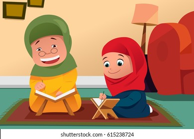 A vector illustration of Muslim Mother and Daughter Studying Quran at Home