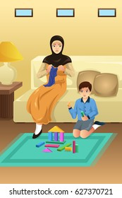 A vector illustration of Muslim Mother and Son at Home