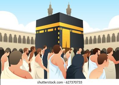 A vector illustration of Muslim Pilgrims Walking Around Kaaba in Mecca