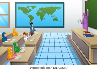 A vector illustration of Muslim Students and Teacher in Classroom