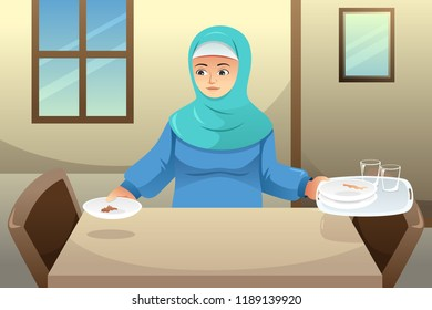 A vector illustration of Muslim Woman Cleaning Up Dining Table After Dinner