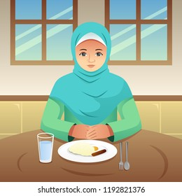 A vector illustration of Muslim Woman Eating Breakfast at Home