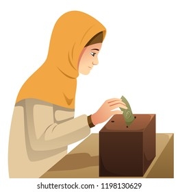 A vector illustration of Muslim Woman Making Money Donation