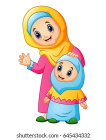 Vector illustration of A muslim women hold her daughter head and waving hand