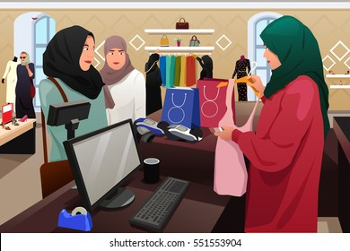 0639202d5e comprando ropa · mujer de compras. A vector illustration of Muslim Women  Shopping in a Clothing Store