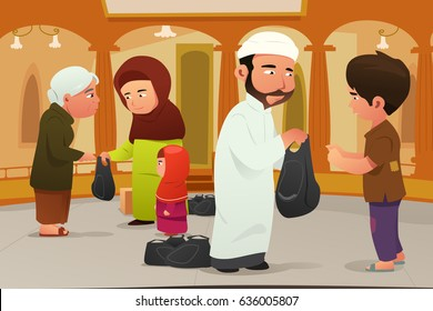 A vector illustration of Muslims Giving Donations to Poor People