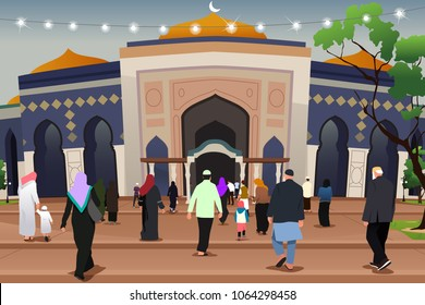A vector illustration of Muslims Going to Mosque to Pray