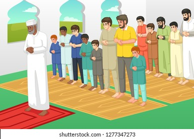 A vector illustration of Muslims Praying in a Mosque