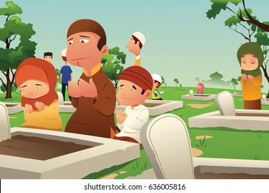 A vector illustration of Muslims Visiting and Praying at Cemetery