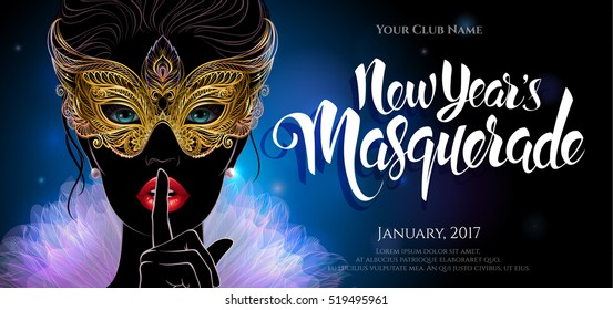 Vector Illustration. A mysterious lady in golden carnival mask put a finger on lips in a hush gesture. Beautiful Concept design for greeting card, invitation, banner or flyer.