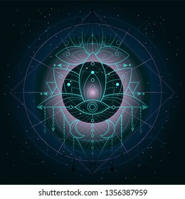 Vector illustration of mystic symbol Lotus on abstract background. Geometric sign drawn in lines. Green and blue colo. For you design and magic craft.