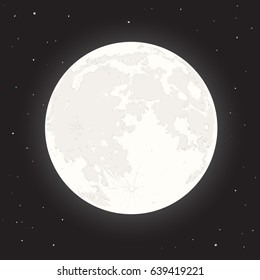 Vector illustration with mystical full moon and stars. Cartoon style