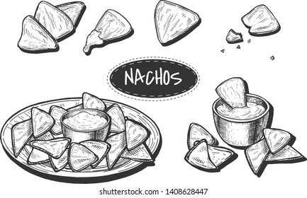 Vector illustration of nachos set. Traditional mexican food collection of snack on plate with dip, single, few in composition, cracked one for menu design. Vintage hand drawn style.