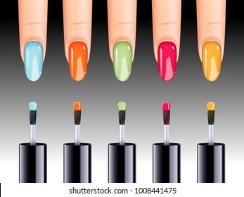 Vector illustration of nail polish in different colors being applied to nail.
