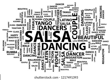 Vector illustration with names of Latin American dances, salsa, bachata, Kizomba, Rumba, reggaeton, tango in the style of word cloud