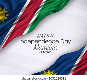 Vector illustration of Namibia Happy Independence Day 21 March. Waving flags isolated on gray background.